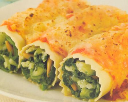 Canelones de espinacas receta de cocina - Canelones en microondas ...