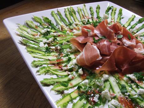 receta de Carpaccio de espárragos y jamón serrano