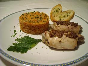 pollo a la mostaza con arroz rojo