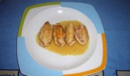rollitos de pavo con salsa de cebolla
