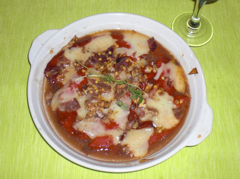 Ensalada tibia de pimientos y queso