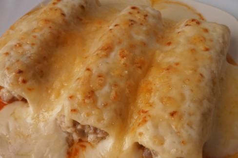 Canelones de pollo caseros receta de cocina - Canelones en microondas ...