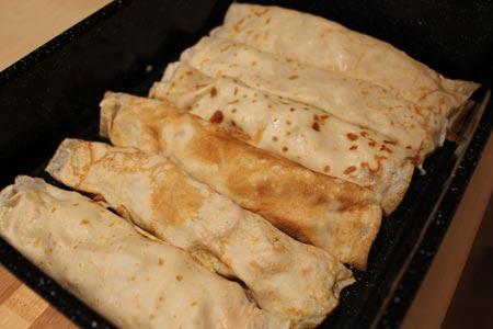 receta de Crepes de pollo y cebolla confitada