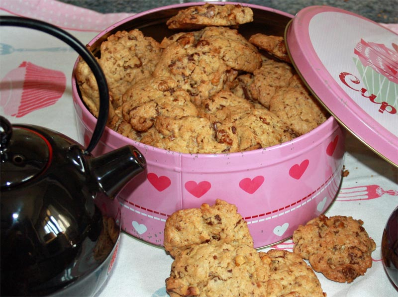 Cookies de chocolate con nueces y jengibre