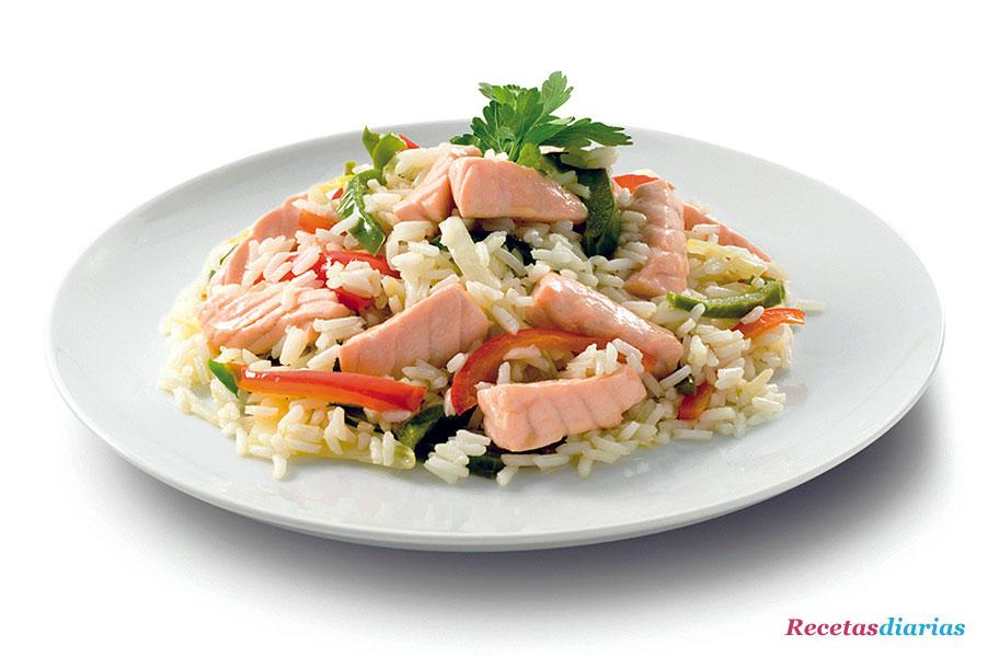 Salteado de arroz con verduras y salm n - Salteado de arroz ...